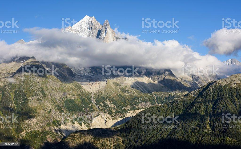 Aiguille Verte, Aiguille du Dru, Mont Blanc Massif stock photo