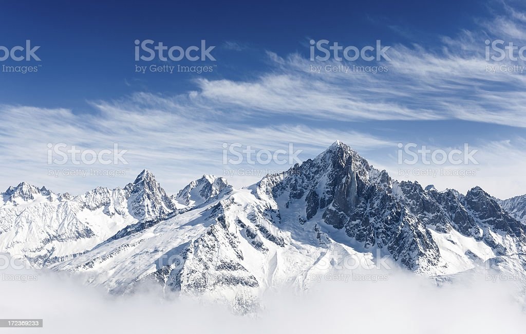 Aiguille Verte and the Mont Blanc Massif stock photo