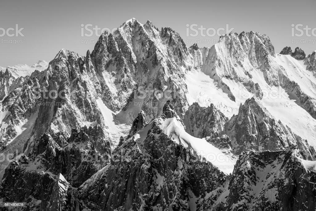 Aiguille verte black and white stock photo