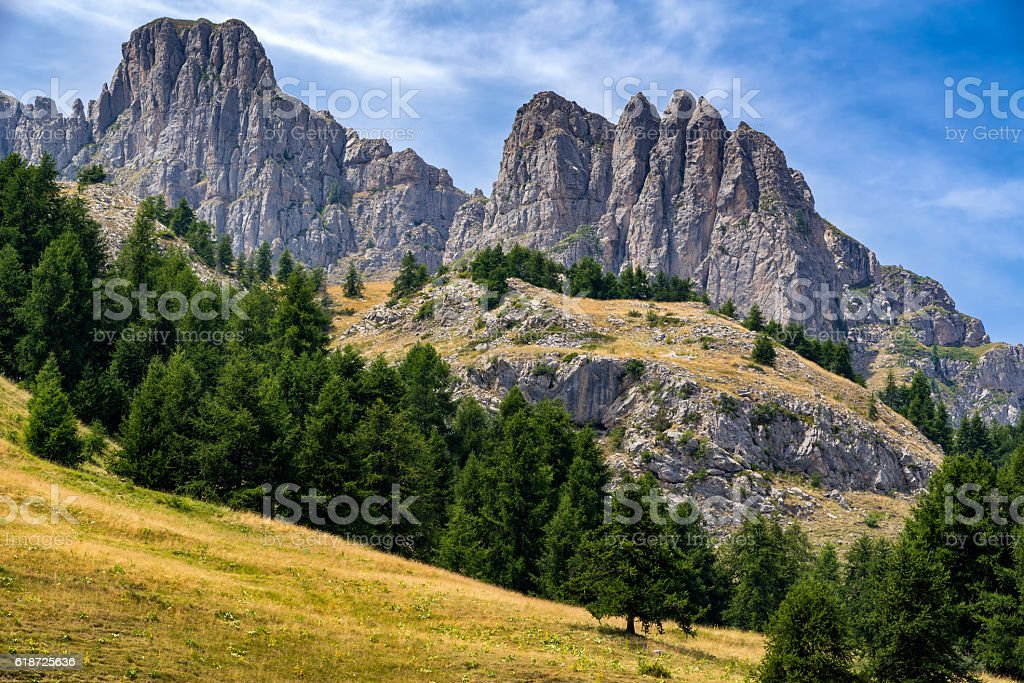 Aiguilles de Chabrieres peaks in summer, Southern Alps, France stock photo