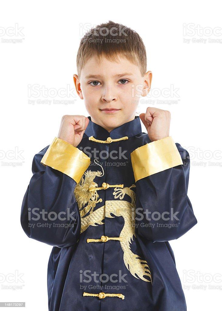 Aikido boy fighting position stock photo