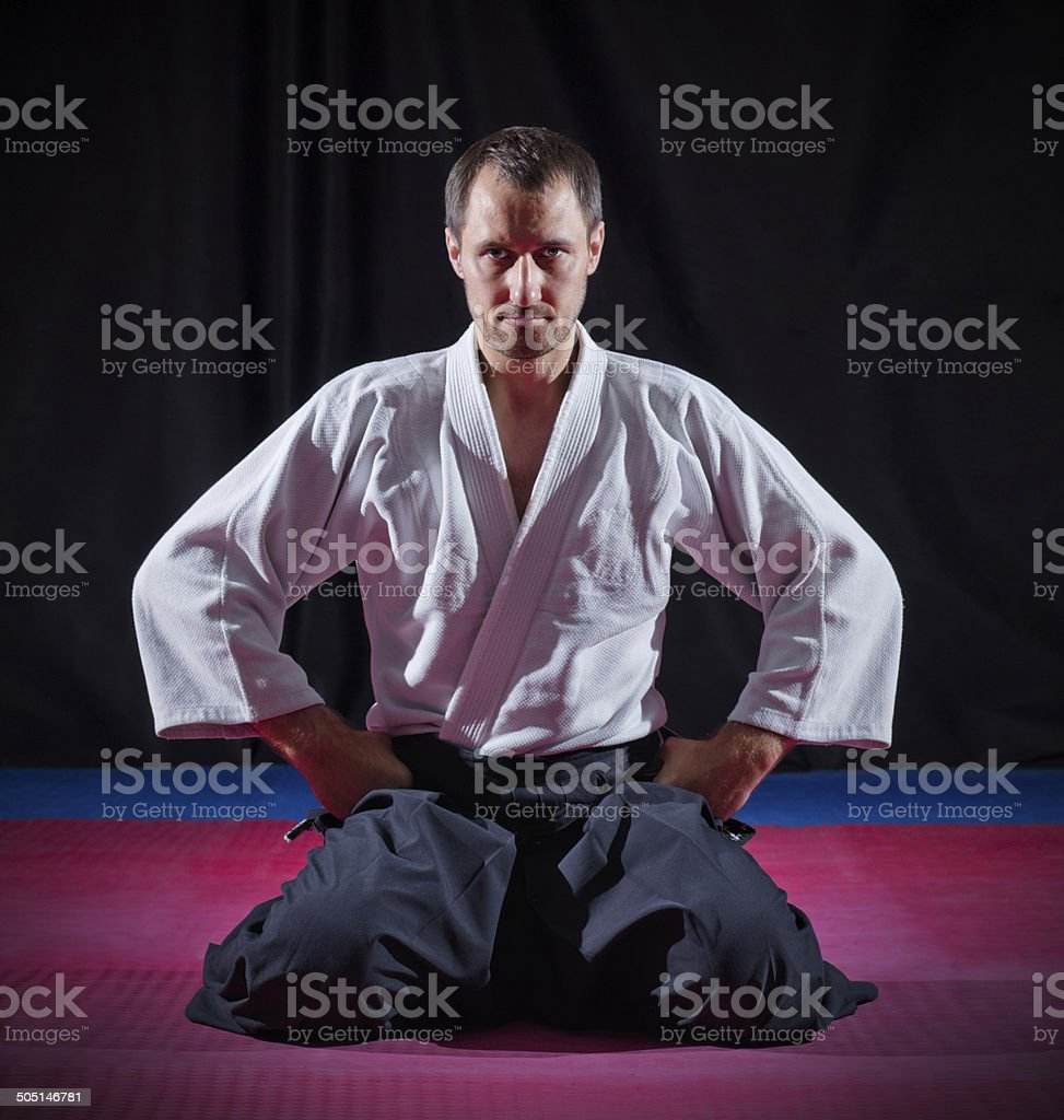 Aikido fighter stock photo