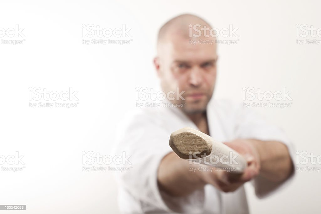 Aikido man with bokken royalty-free stock photo