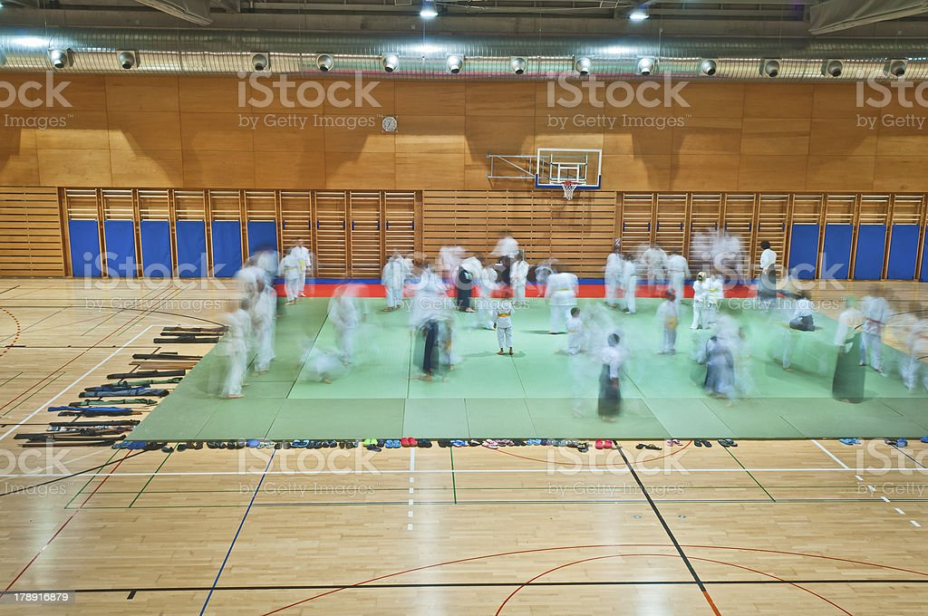 Aikido Practitioners Training in Sports Hall royalty-free stock photo