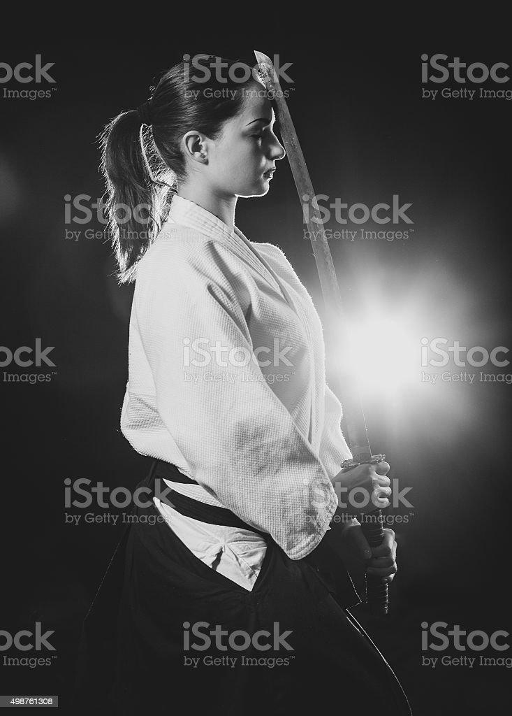 Aikido woman stock photo
