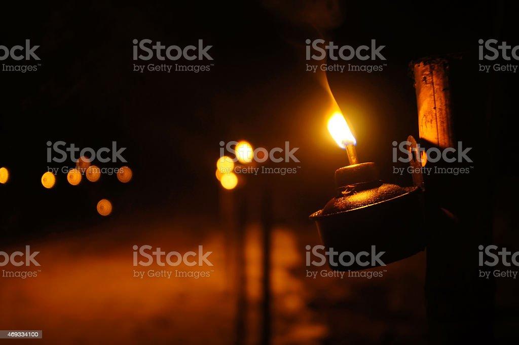 Aildilfitri Oil Lamp in its original ambient lighting at night stock photo