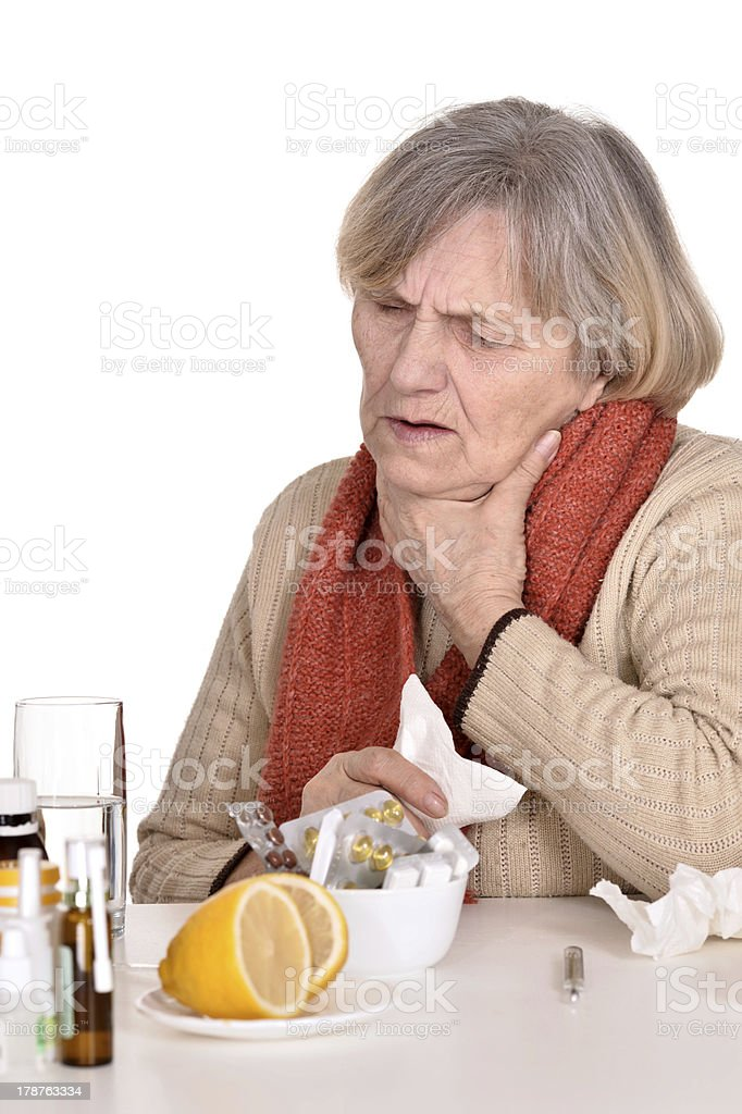 ailing elderly woman stock photo