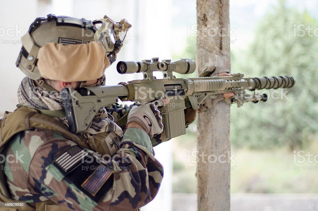 Aim target full uniform stock photo
