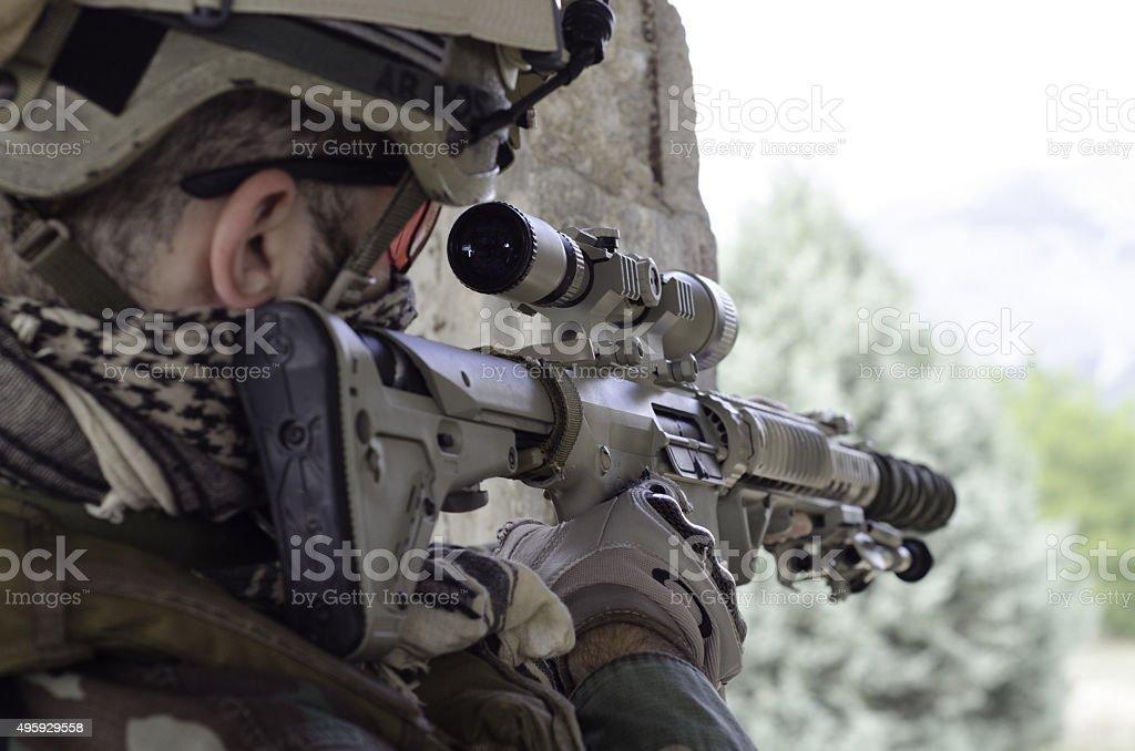 Aim target with gun stock photo