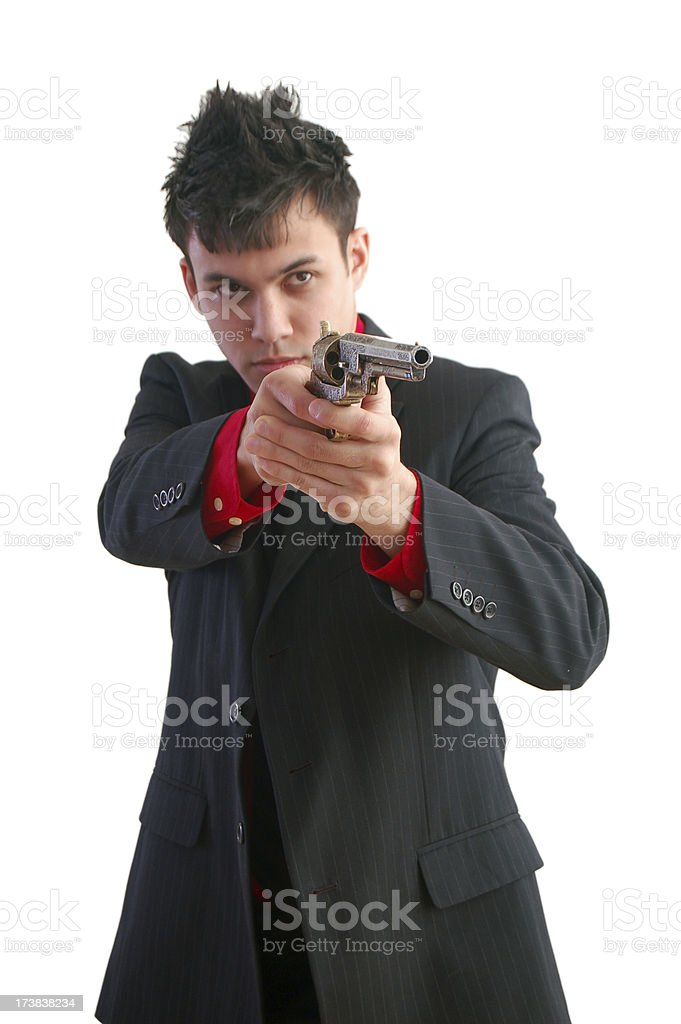 Aiming Gun with Two Hand stock photo