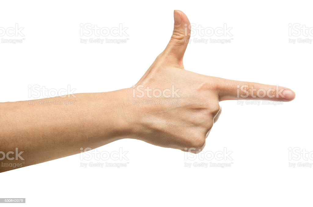 Aiming hand sign stock photo