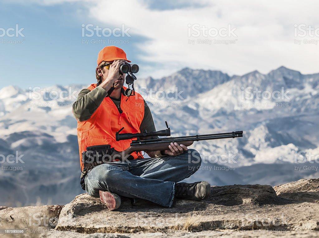 Aiming Hunter stock photo