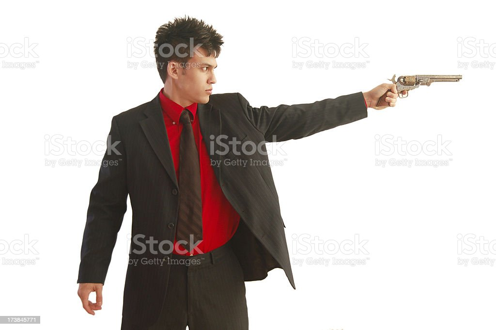 Aiming Pistol stock photo