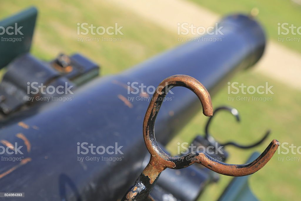 Aiming with ancient cannon royalty-free stock photo