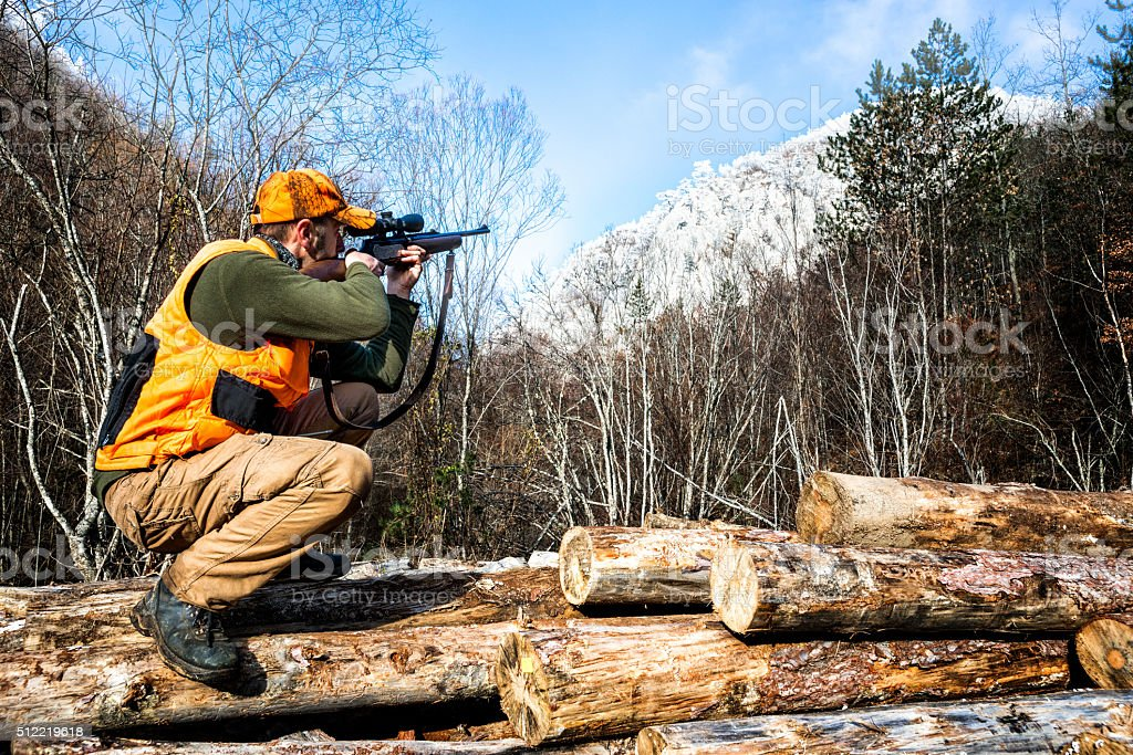 Aiming with hunting rifle stock photo