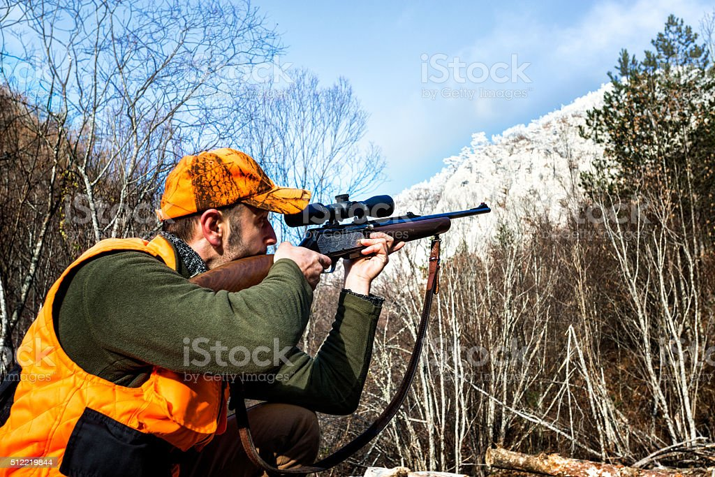 Aiming with rifle in the wilderness stock photo
