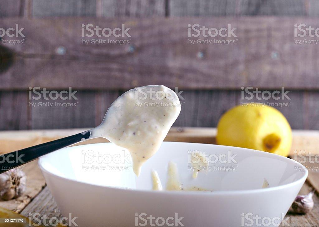 Aioli dip - garlic mayonnaise stock photo