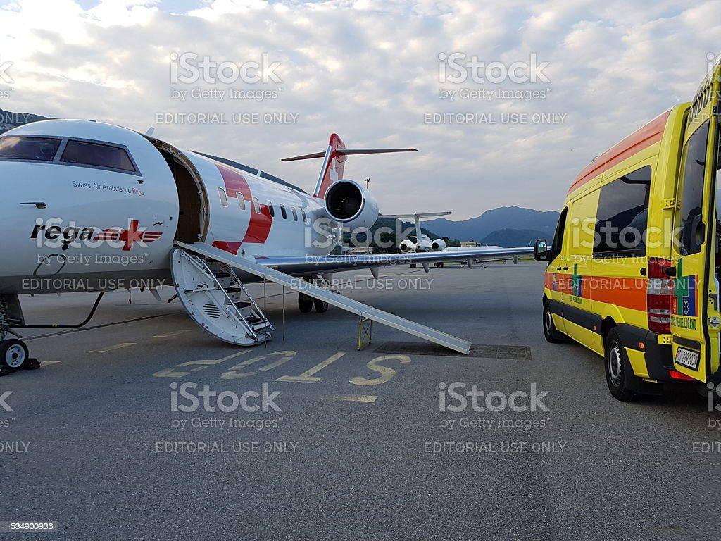 REGA air ambulance and CVL road ambulance stock photo