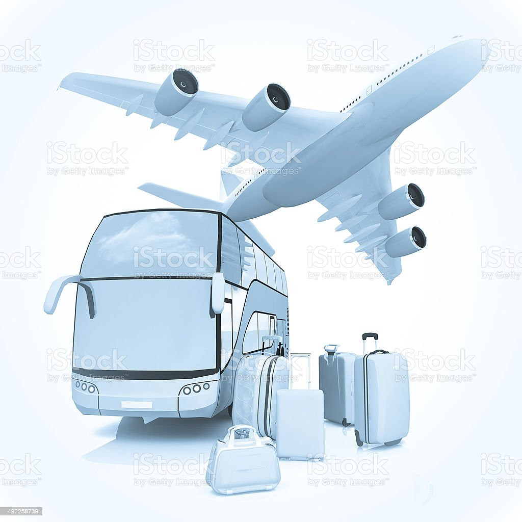 Air and Bus traffic with a luggage stock photo