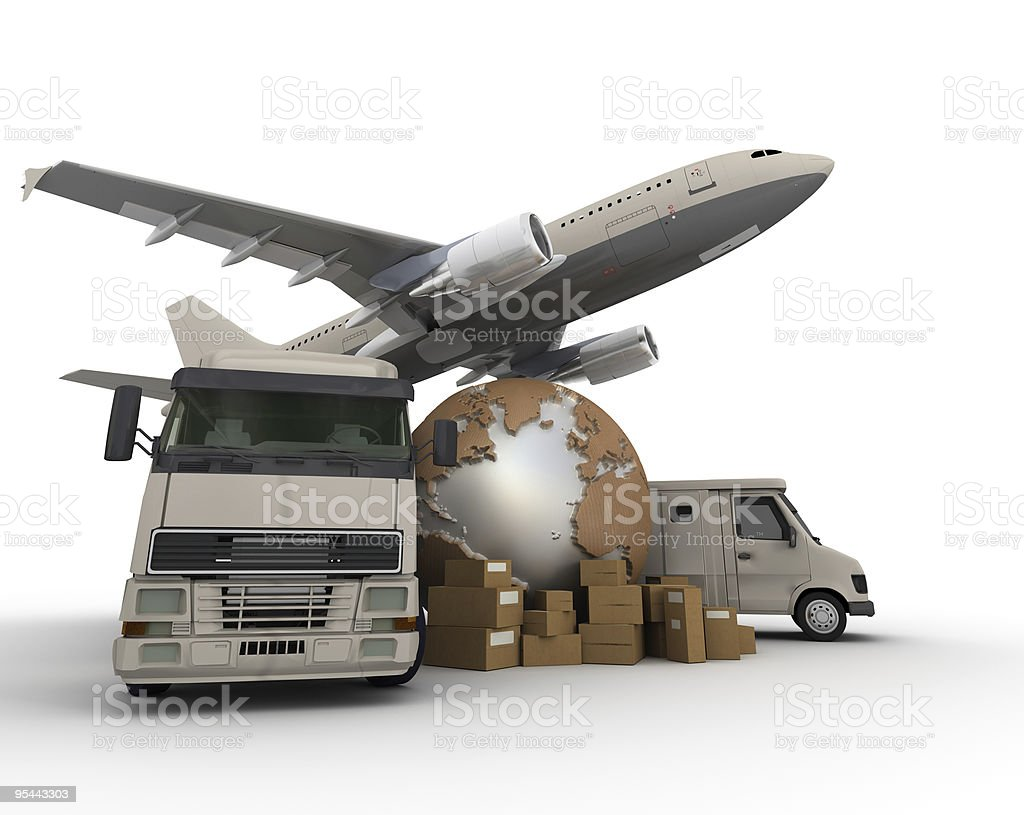 Air and road transportation royalty-free stock photo