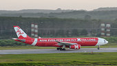 Air Asia X take off from Krabi to China