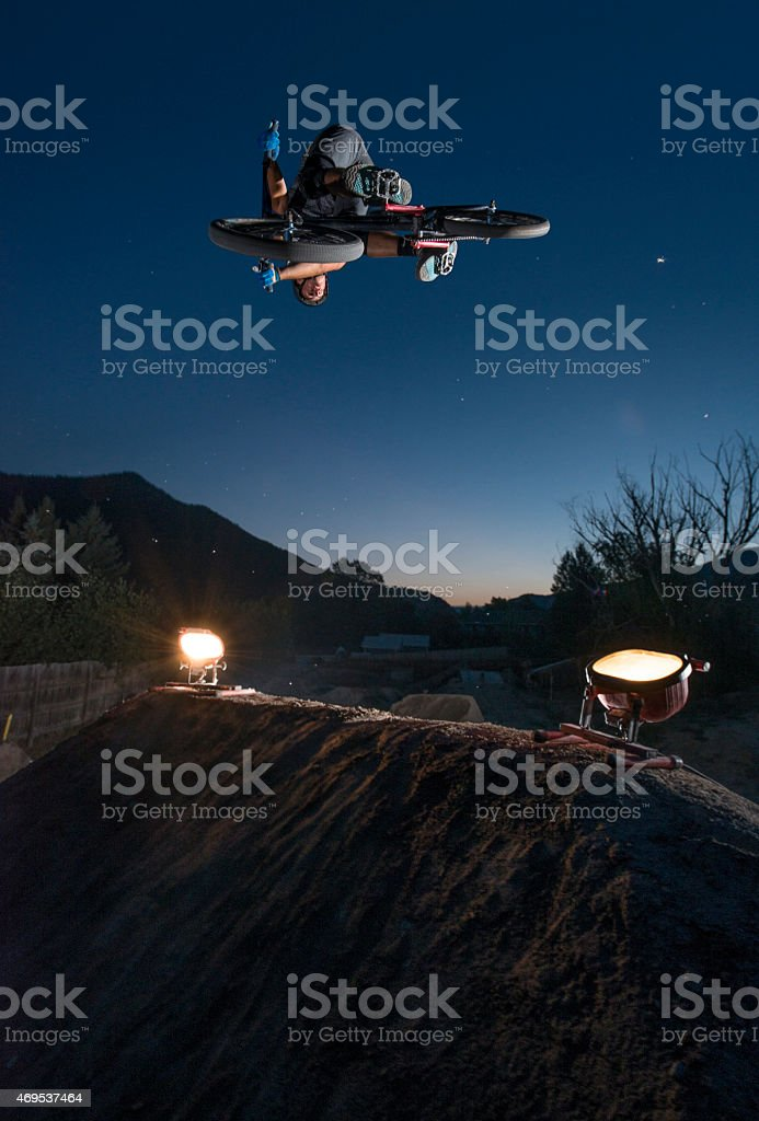 BMX air at NIght stock photo