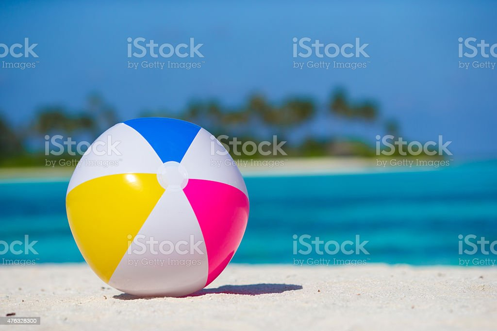 Air ball at beach with turquoise sea and blue sky stock photo