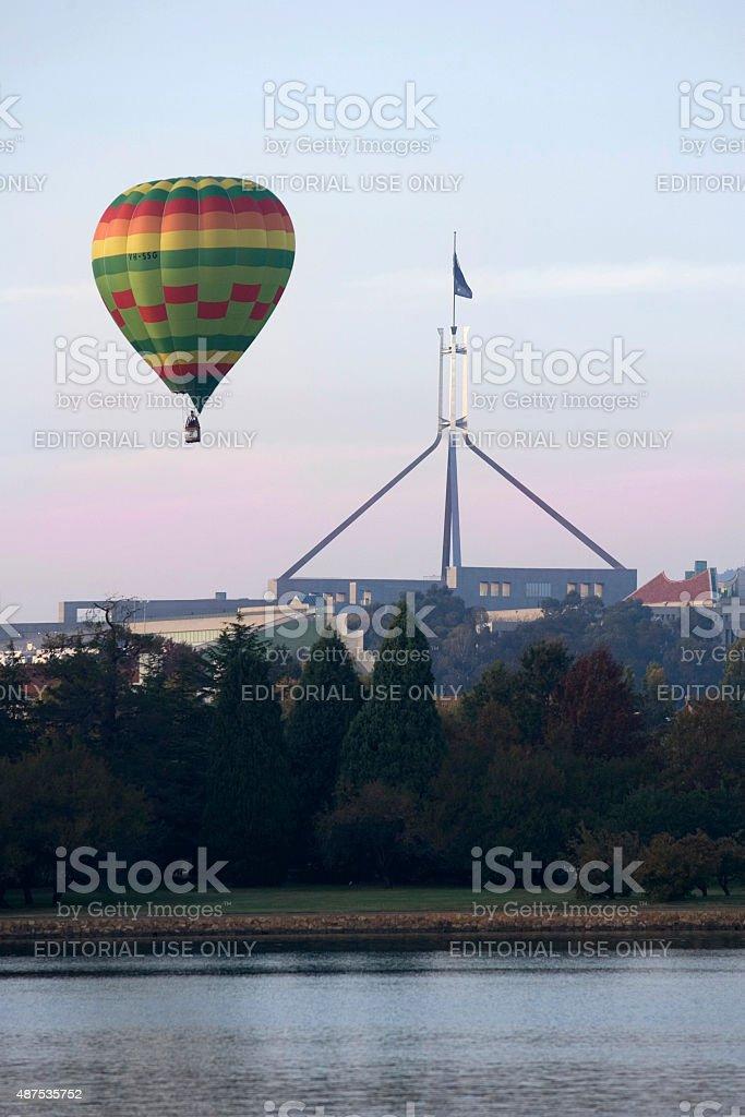 Air balloon near Parliament House stock photo