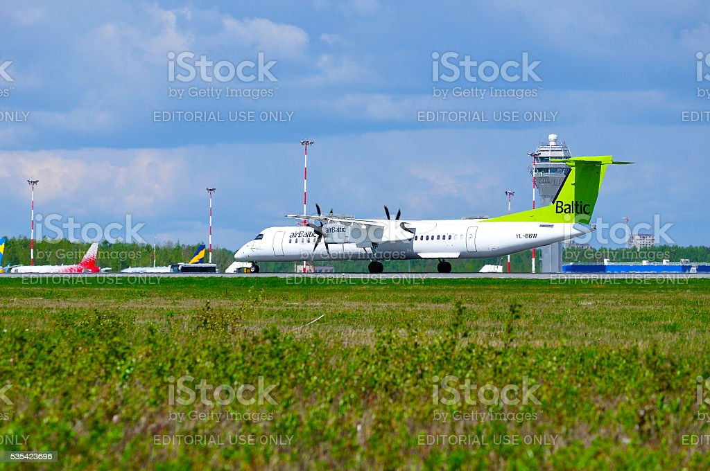 Air Baltic Airlines  Bombardier Dash 8 airplane stock photo