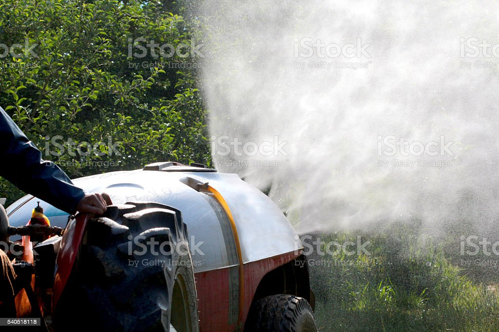 air blast sprayer with a chemical insecticide stock photo