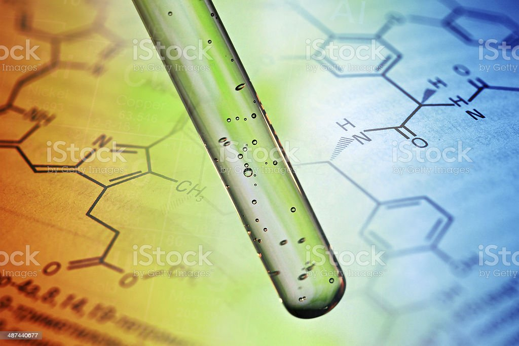 Air bubbles in test tube. stock photo