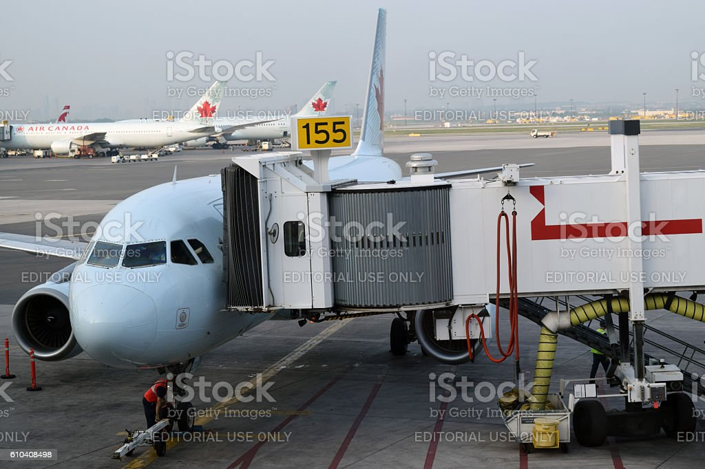 Air Canada airplanes stock photo
