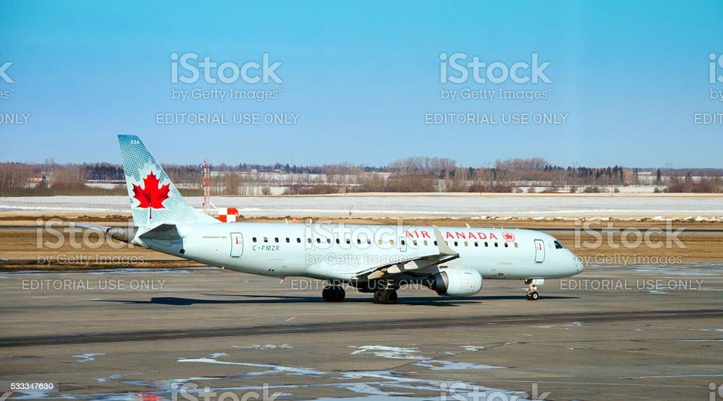 Air Canada passenger plane on Edmonton, Alberta, runway stock photo