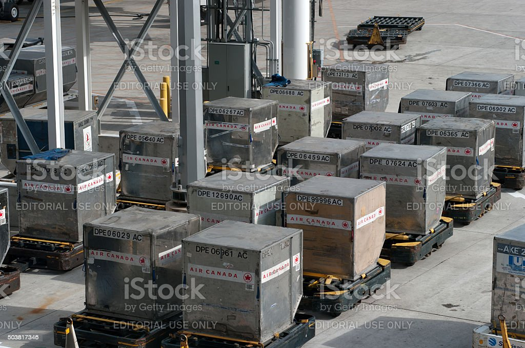 Air Canada Shipping Containers stock photo