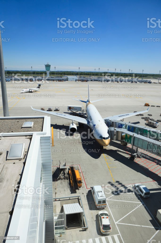 Air China Airplane docked to Terminal 2 of Munich Airport stock photo