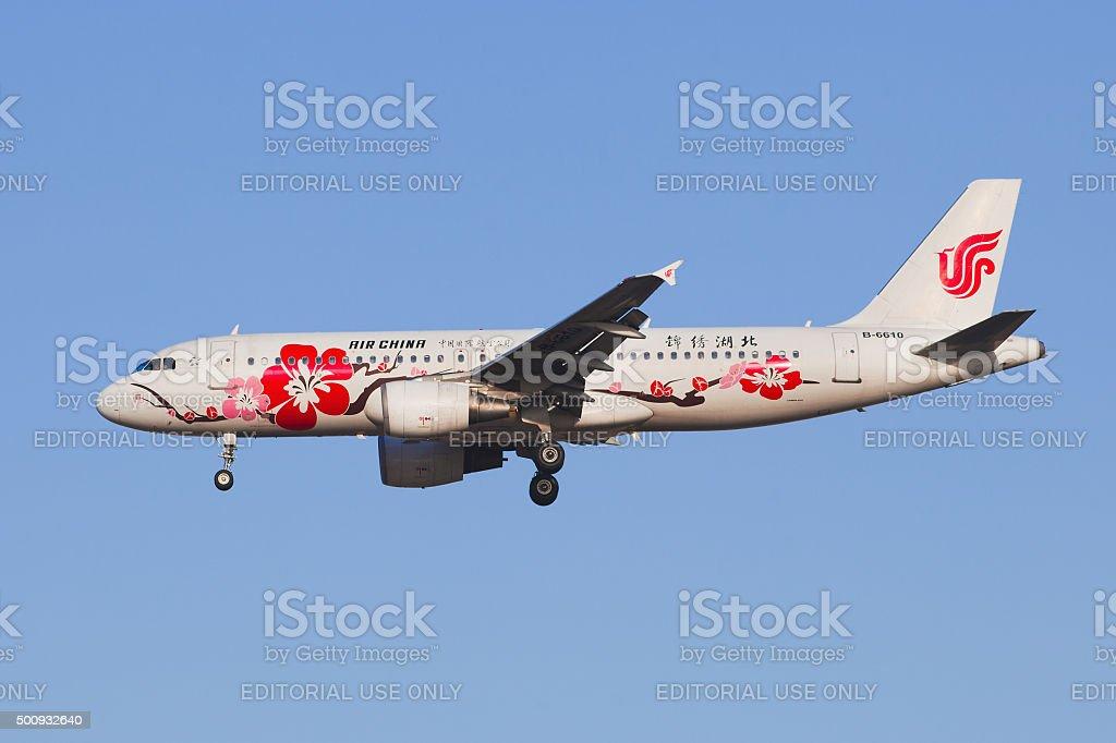 Air China B-6610 Airbus A-320-200 landing at Beijing Airport. stock photo
