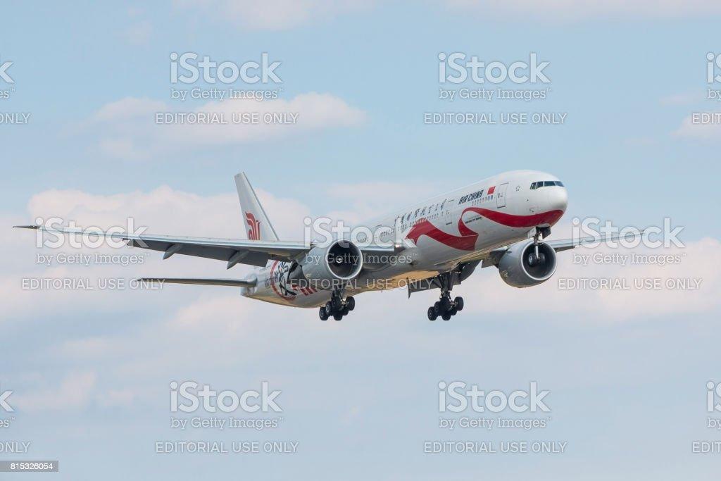 Air China plane landing stock photo