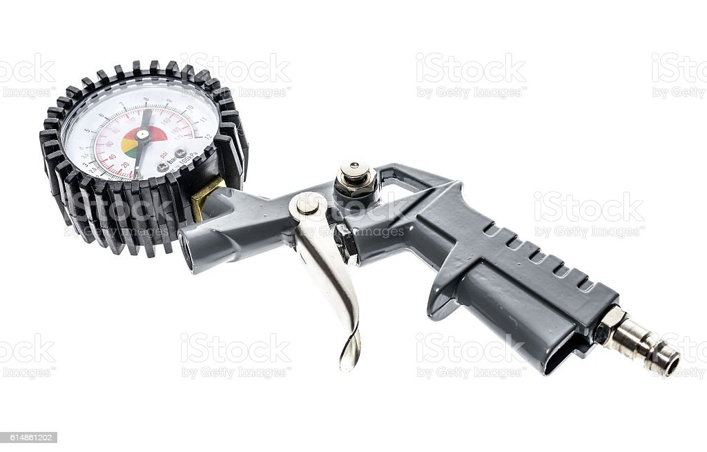 Air compressor gun with manometer isolated on a white background stock photo