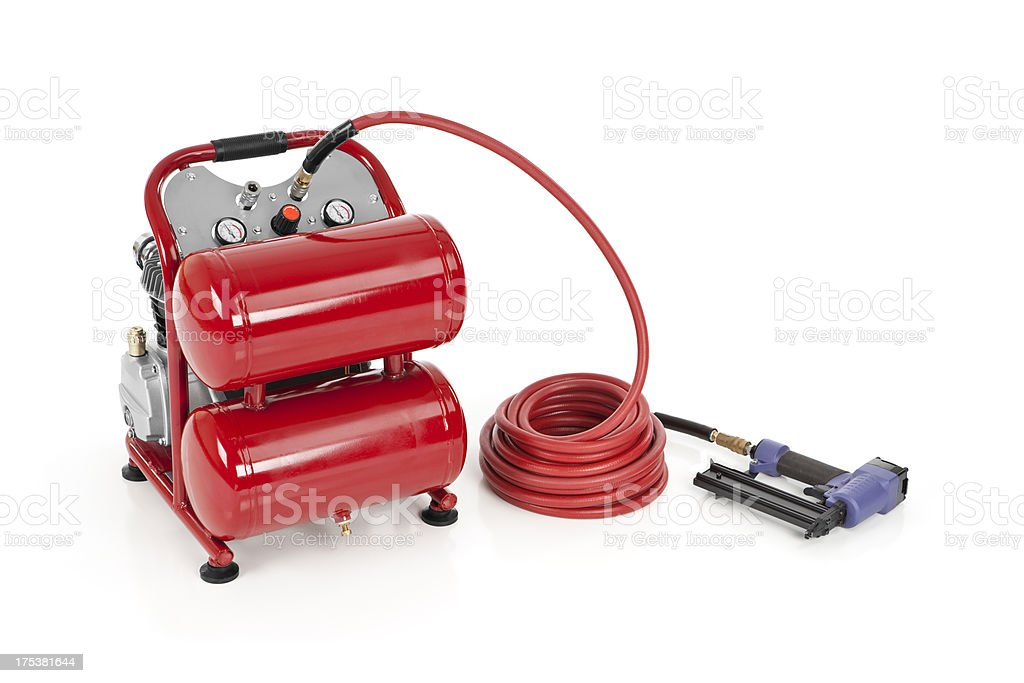 Air Compressor with a Nail Gun stock photo
