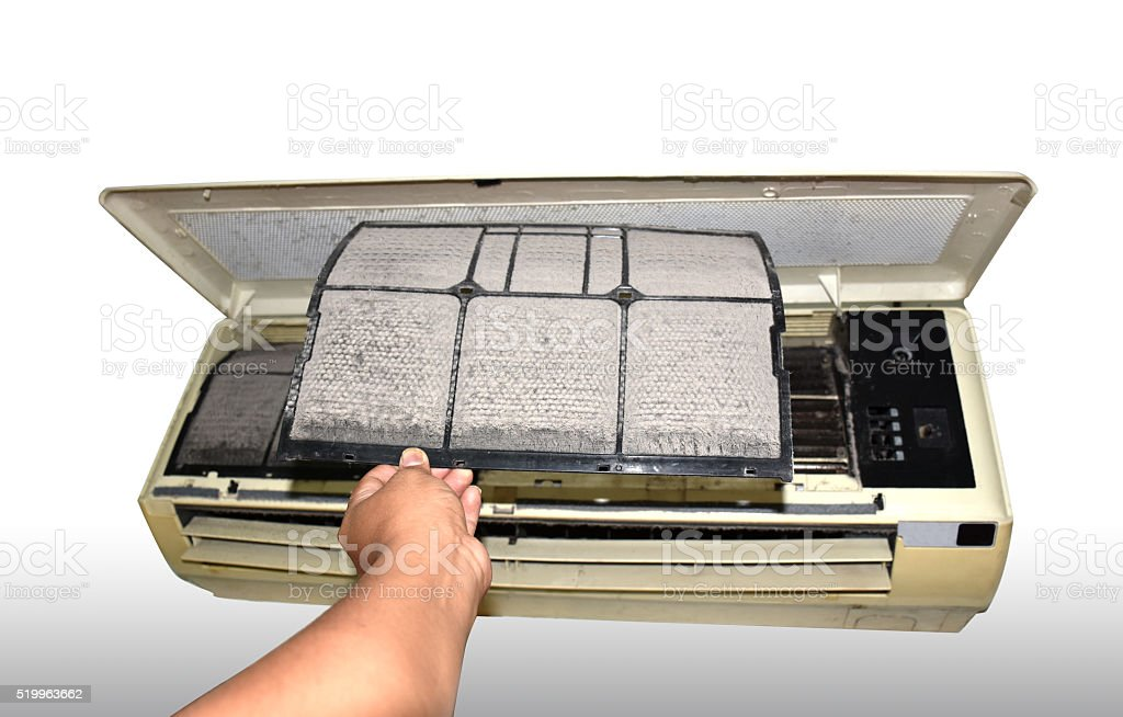 air condition filter replacement stock photo