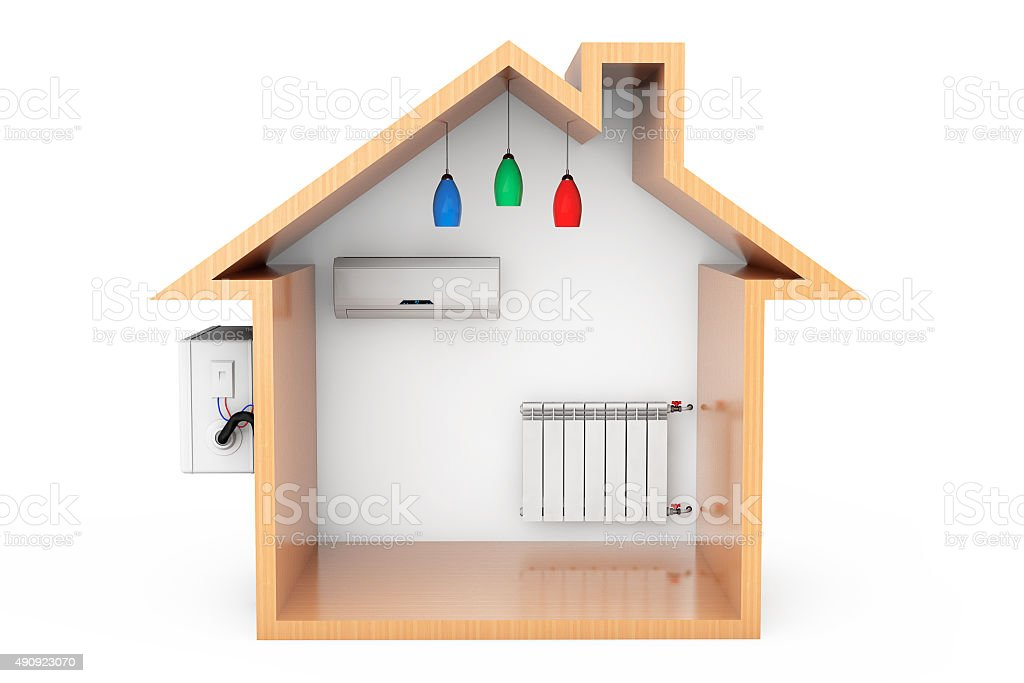 Air Conditioner and Heating Radiator in the Wooden House Outline stock photo