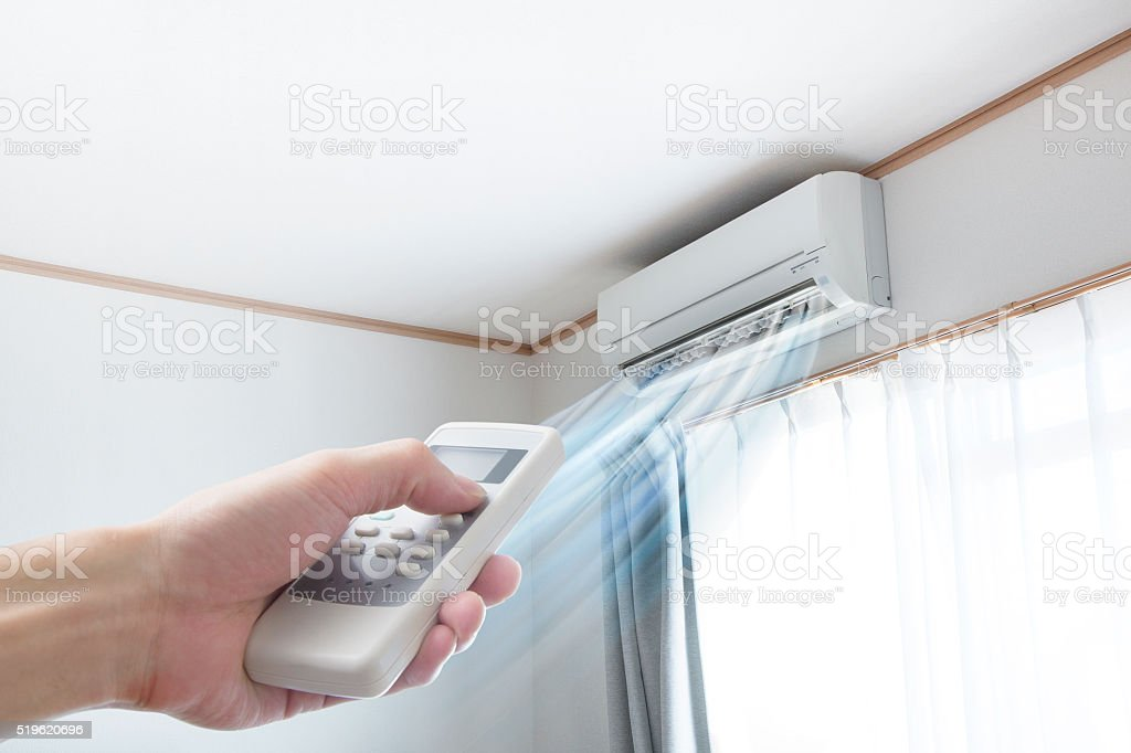 Air conditioner blowing cold air stock photo