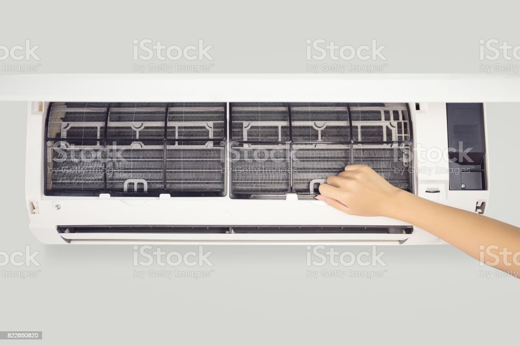 air conditioner cleaning stock photo