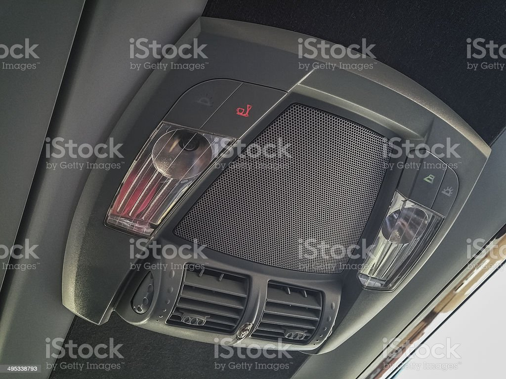 air conditioner control panel at coach bus stock photo