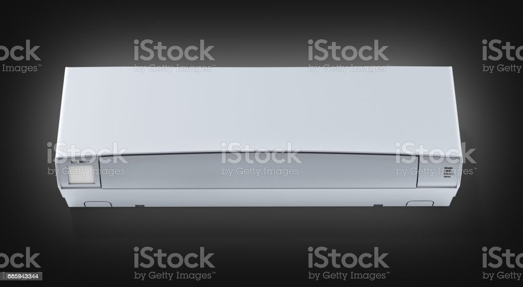 Air conditioner front view on black gradient background 3d stock photo