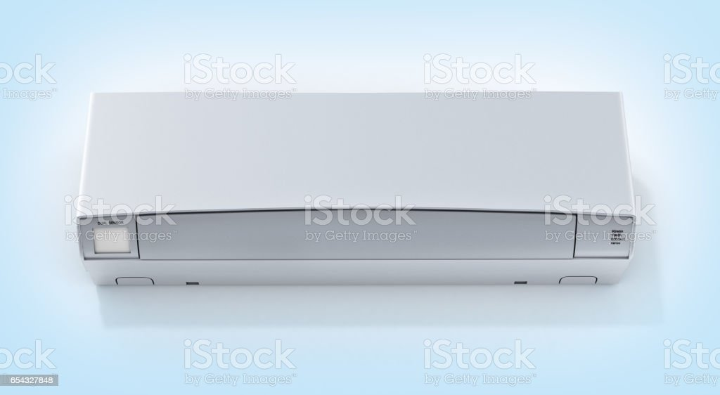 Air conditioner front view on blue gradient background 3d stock photo