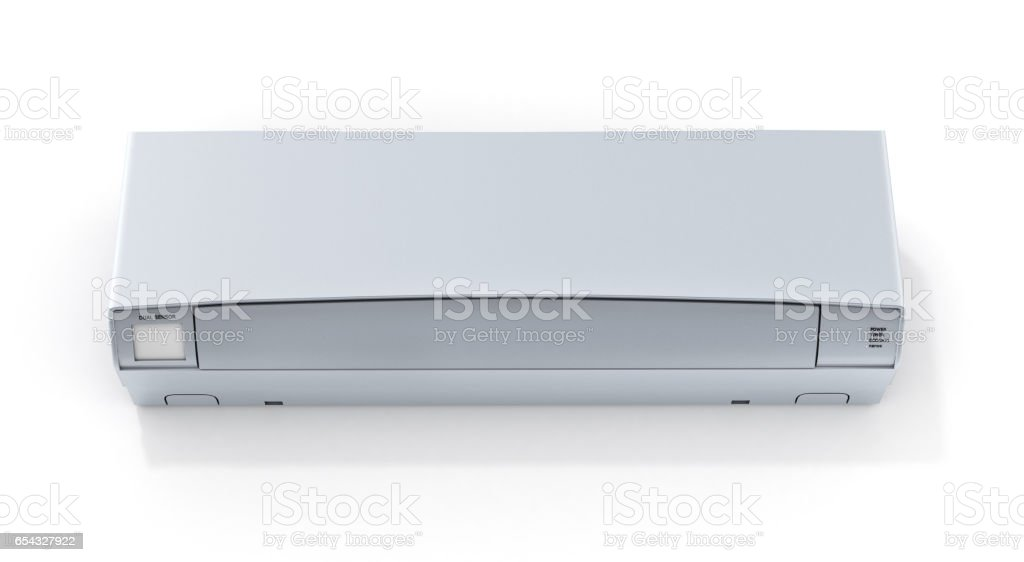 Air conditioner front view on white wall 3d stock photo