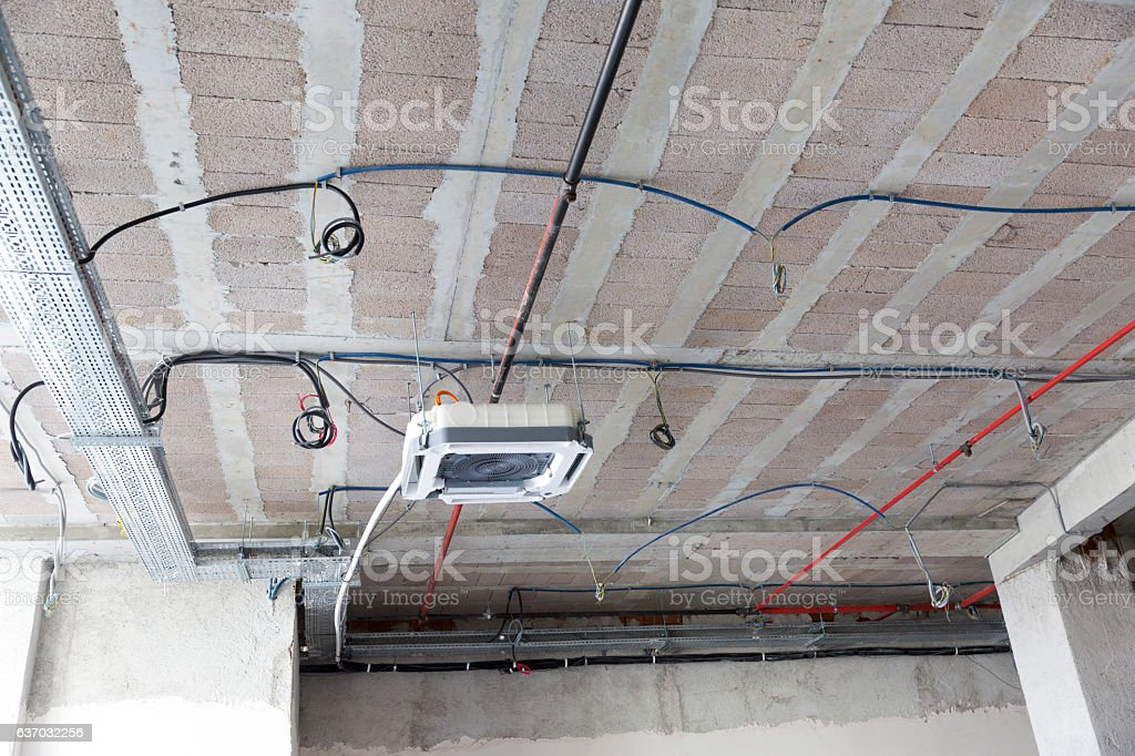 Air Conditioner in Office Space Being Remodeled stock photo
