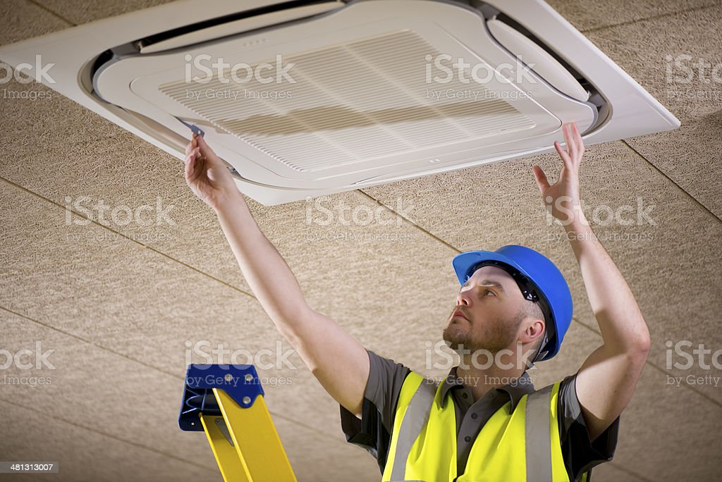 air conditioner install royalty-free stock photo