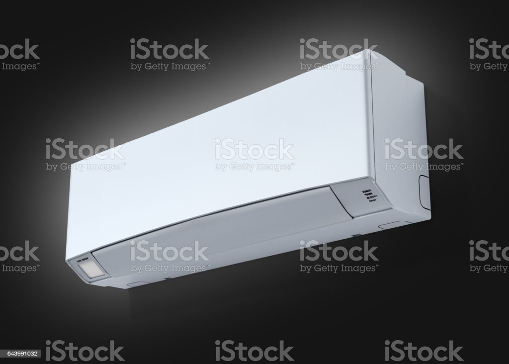Air conditioner on black gradient background 3d stock photo